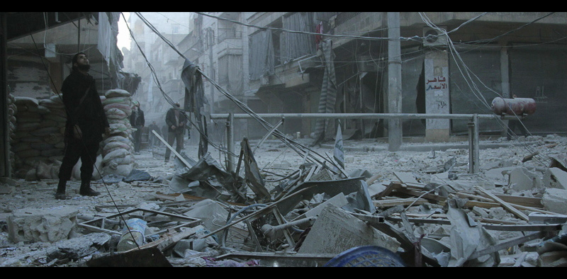 Aleppo after barrel bombing one of its residential areas